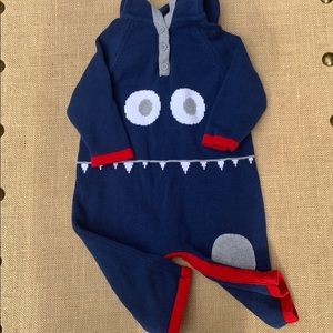 EUC Hanna Andersson monster face sweater one piece